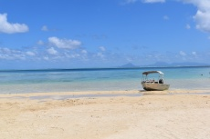 Boat trip to a private beach in Huahine